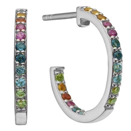 Christina Collect - WORLD GOALS sølv øreringe med farvede sten