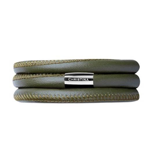 Christina Collect læder armbånd - Grøn