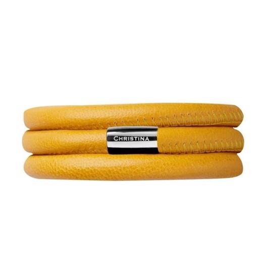 Christina Collect læder armbånd - Gul 70 cm**