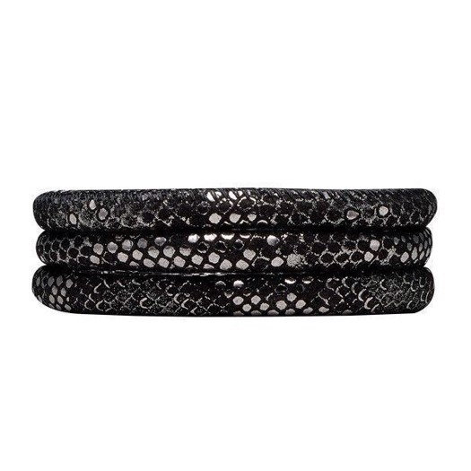 Christina Collect læder armbånd - Sølv sort