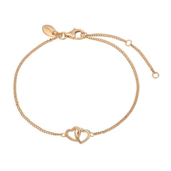 Christina Jewelry Double Hearts armbånd i forgyldt