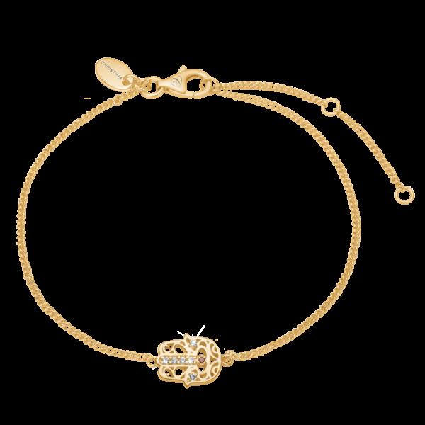 Christina Jewelry Hamsa hånd armbånd i forgyldt