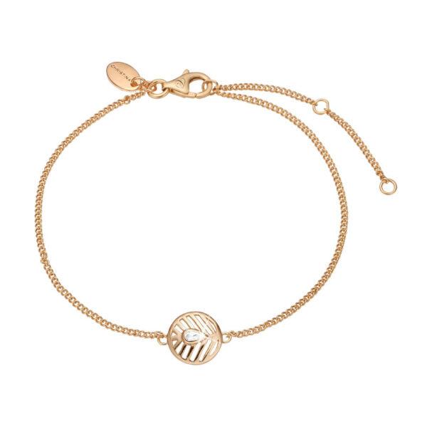Christina Jewelry Open Leaf armbånd i forgyldt med topas