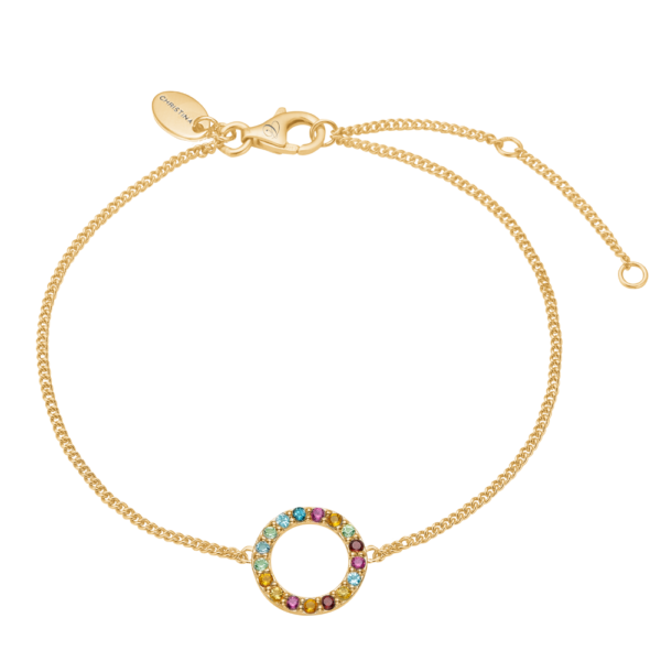 Christina Jewelry World Goals armbånd i forgyldt, multi sten