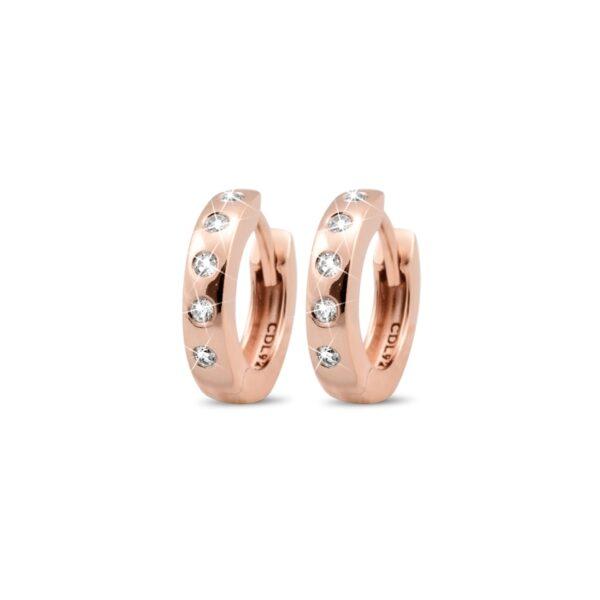 Christina Jewlery øreringe Ø 13 mm i rosaforgyldt med topas