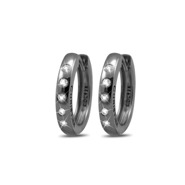 Christina Jewlery øreringe Ø 16 mm i sort sølv med topas
