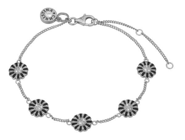 Christina Marguerite black field armbånd - 601-S02BLACK 21 centimeter