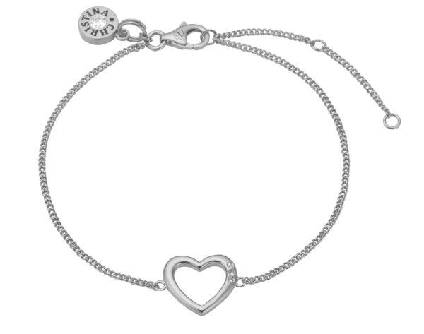 Christina open heart sølvarmbånd - 601-S10 20 centimeter