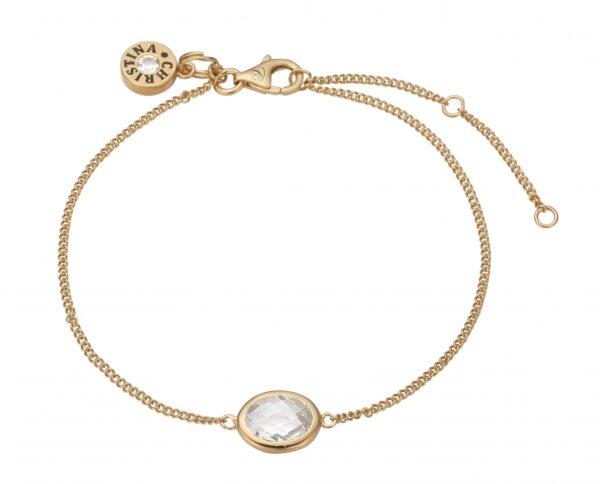 Christina white crystal armbånd forgyldt - 601-G03-WHITE 20 centimeter