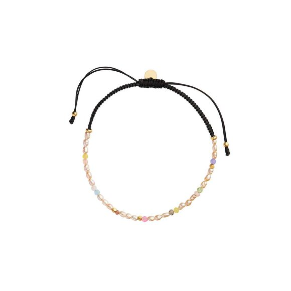 Confetti Pearl Bracelet With Beige And Pastel Mix With Black Ribbon Fra Stine A