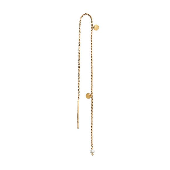 Dangling Petit Coin And Stone Earring Forgyldt 1pc | White Pearl Fra Stine A