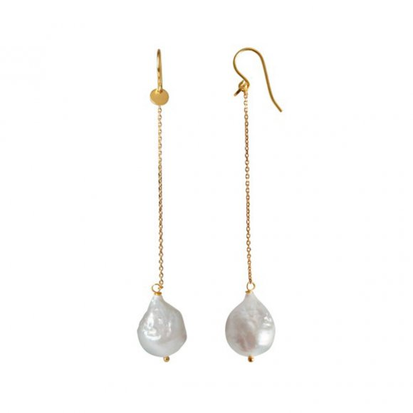 Dangling White Pearl With Long Chain Earring 1pc | Forgyldt Fra Stine A