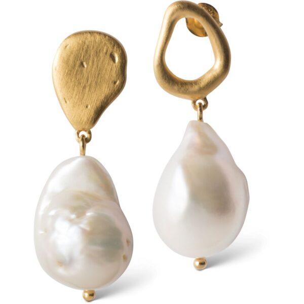 Enamel Baroque Pearl Forgyldt Sølv Øreringe med Barokke Perler