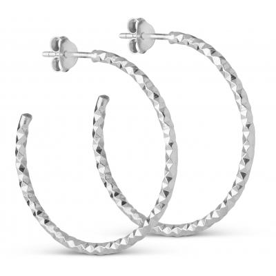 Enamel Diamond Cut Large Øreringe i Sterling Sølv