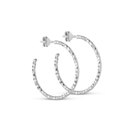 Enamel - Hoops i sølv. Diamond Cut - Large