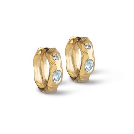 Enamel - Leonora hoops i forgyldt sølv med blå sten