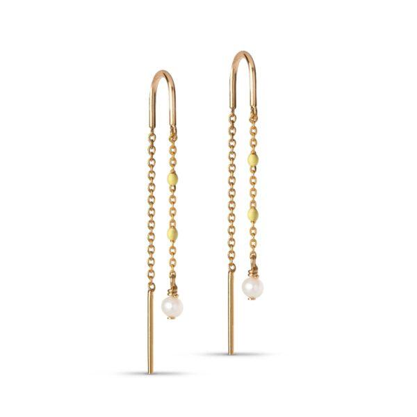 Enamel Lilja øreringe - Guld