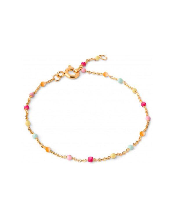 Enamel Lola Rainbow armbånd - Guld