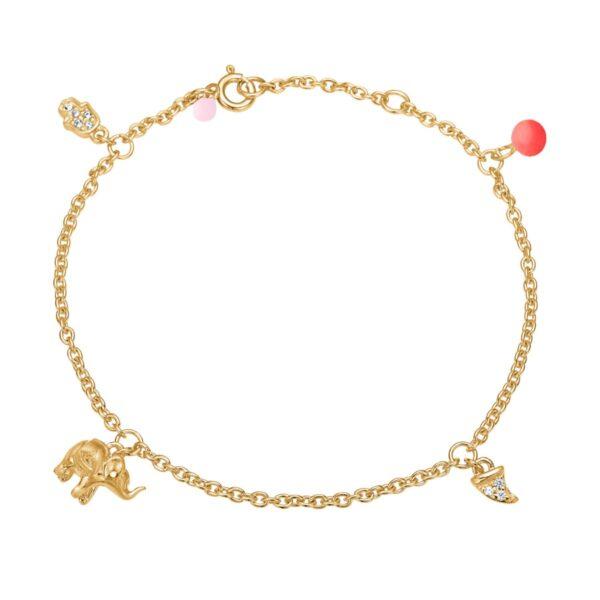 Enamel Lucky charms armbånd, rød/lyserød - Guld