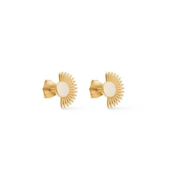 Enamel Stud Soleil Daisy øreringe - Guld