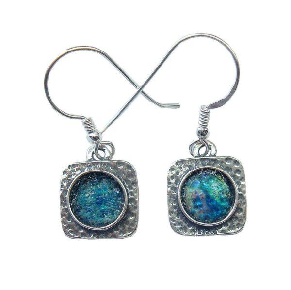 Firkantede øreringe med romersk glas