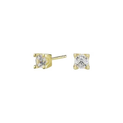 Forgyldte sølv øreringe 4 grabber med 4,5 mm zirkonia**