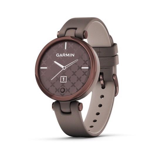 Garmin - Lily Classic Edition, GPS Smart watch i bronze og brun læderrem