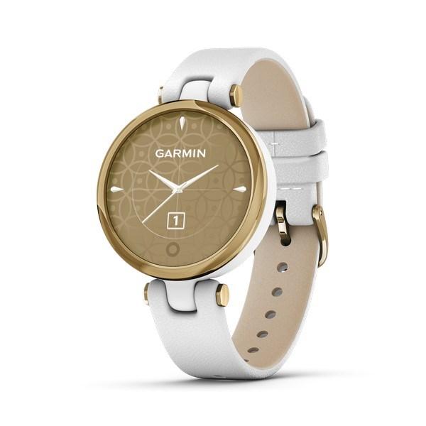 Garmin - Lily Classic Edition, GPS Smart watch i lys guld tone og hvid læderrem