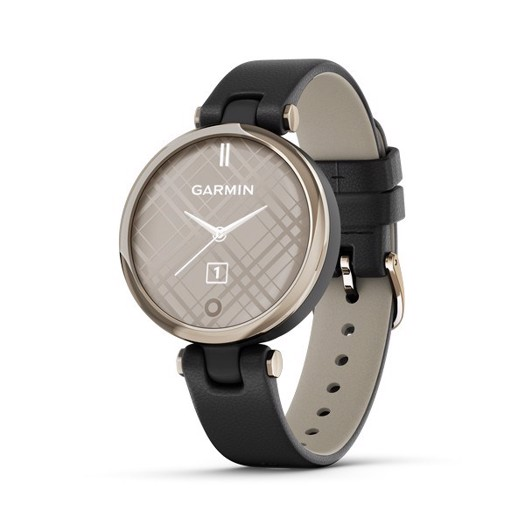 Garmin - Lily Classic edition, GPS Smart watch i guldtone og sort læderrem