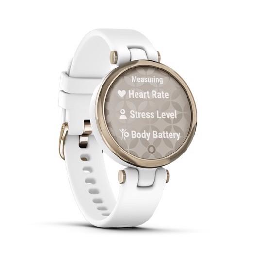 Garmin - Lily Sport Edition, GPS Smart watch i lys guld tone og hvid silikone rem