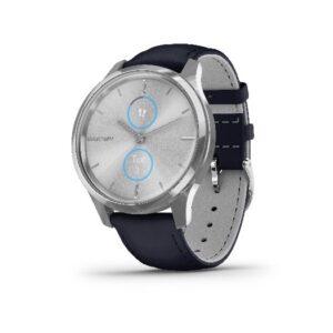 Garmin - Vivomove Luxe, WW, smart ur med marineblå læder rem.