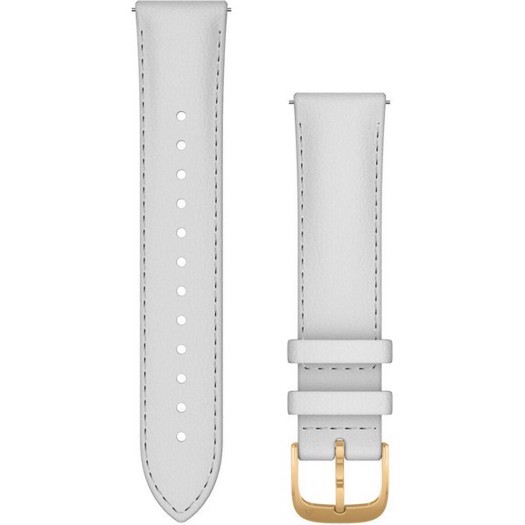 Garmin urrem - Quick release 20mm. hvid læderrem med guld spænde.