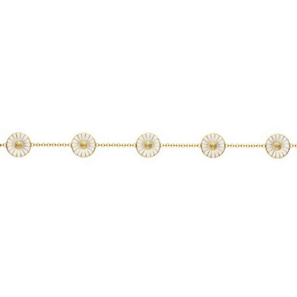 Georg Jensen Daisy Marguerit armbånd, forgyldt med hvid emalje, Ø11mm