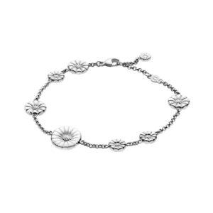 Georg Jensen Daisy Marguerit armbånd, sølv med hvid emalje