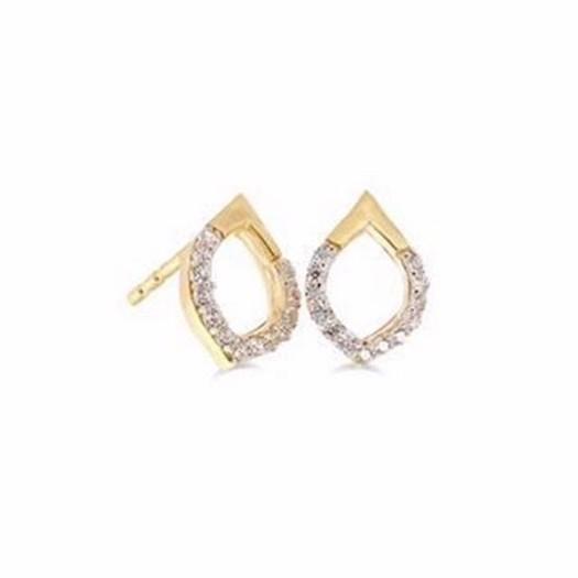 Guld og sølv design - 8 karat guld ørestikker m. zirkonia