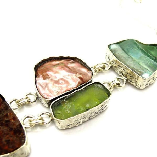 Håndlavet armbånd med citrin sten, kobber perle og romersk glas