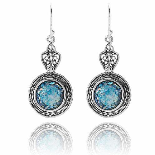 Hænge øreringe i etnisk design med romersk glas