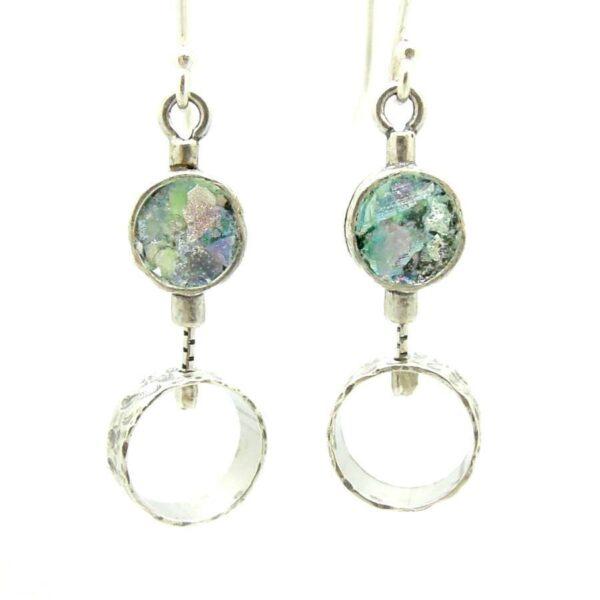 Hænge øreringe med cirkel og romersk glas