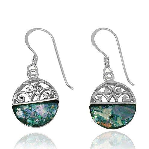 Halvcirkel øreringe med romersk glas