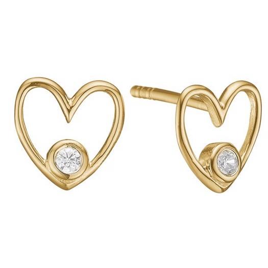 Hjerte ørestikker i 8 kt. guld og diamanter - 2 x 0,03ct - Labgrown*