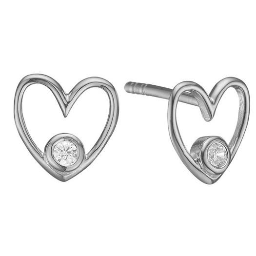 Hjerte ørestikker i 8 kt. hvidguld og diamanter - 2 x 0,03ct - Labgrown*