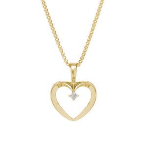 Hjerte vedhæng i 14 kt guld med brillant - inkl. forgyldt sølvkæde