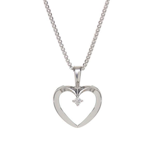 Hjerte vedhæng i 14 kt hvidguld med brillant - inkl. sølvkæde