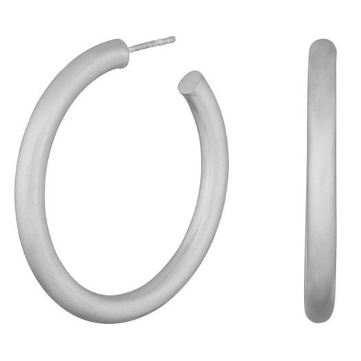 Hoops Simple mat sølv creoler fra 15 - 40 mm