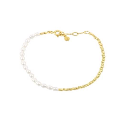 Hultquist - Ella plain armbånd i forgyldt og perler