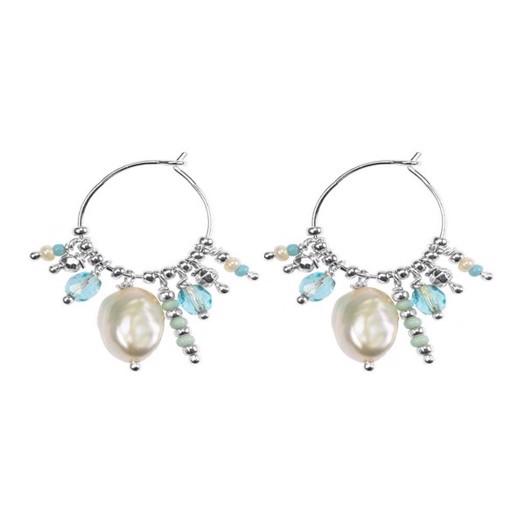 Hultquist - Ocean øreringe i sølv med perler og farvede glasperler