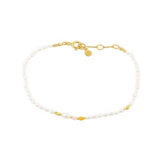 Hultquist - Olivia armbånd i forgyldt sølv og perler