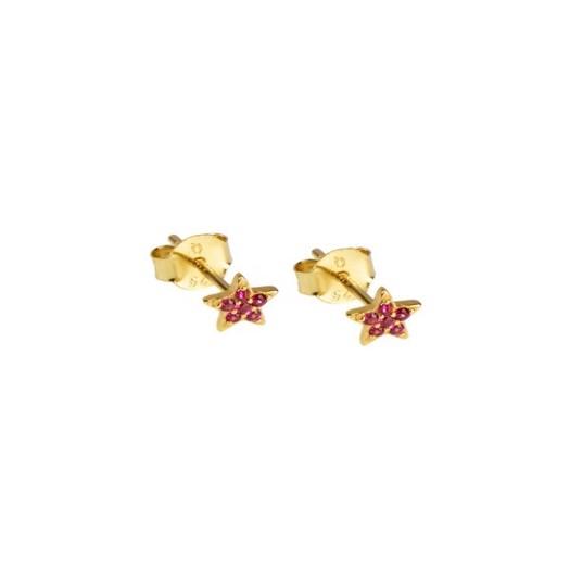 Hultquist - Ruby Star øreringe i forgyldt sølv