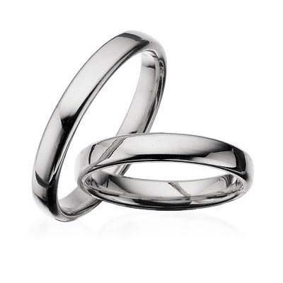 Hvidgulds ringe i 14 kt. 3,5 mm. let oval, glat. Med eller uden brillant