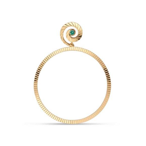 Impression Hoop W/emerald   Forgyldt Fra Jane Kønig